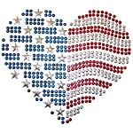 USA Heart Metal Stud Nailhead Heat Transfer Motif Iron-on Patch by PC, H-1750